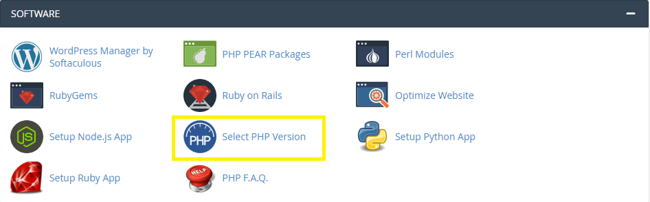 software section cpanel